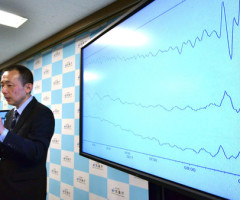 An earthquake expert from Japan's Meteorological Agency, Yasuhiro Yoshida, speaks at a press conference at their headquarters in Tokyo on February 17, 2015 after an earthquake hit northern Japan. A minor tsunami hit northern Japan after the strong undersea earthquake struck off the coast, in the same area that was devastated by a killer tsunami in 2011.    AFP PHOTO / Yoshikazu TSUNO